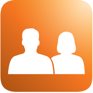 Icon Social shape of a man and a woman, orange background