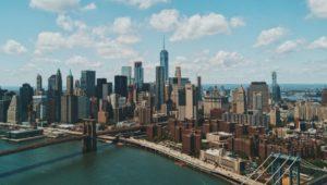Birds eye view of New York and Brooklin bridge