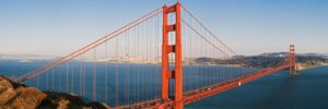Golden gate bridge panoramic view on a sunny day