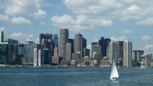 Boston panorama, sail boat