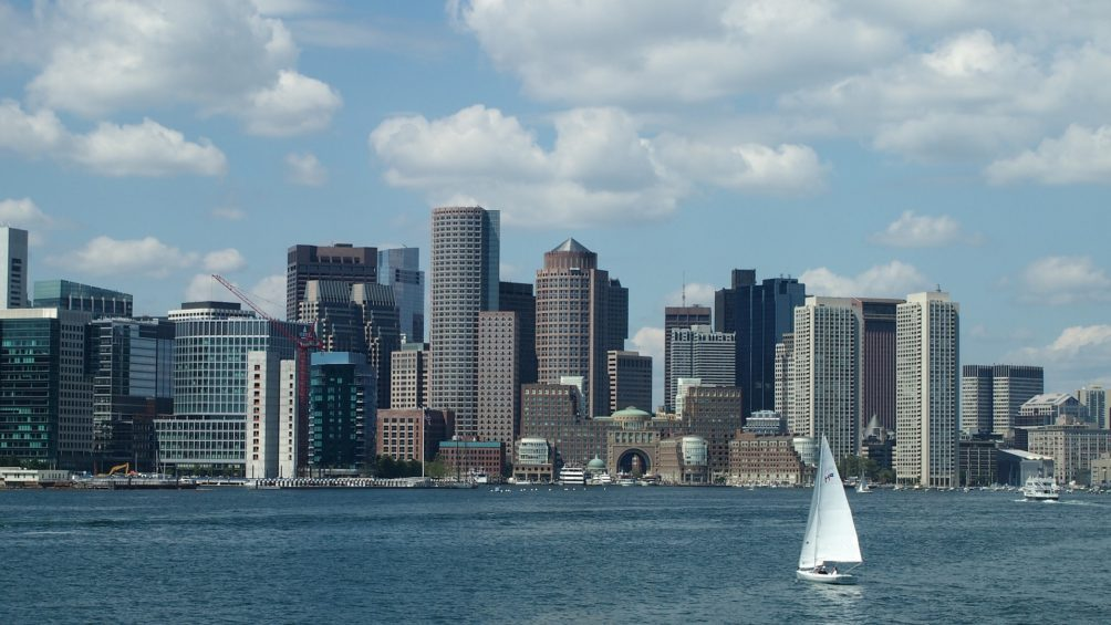 Boston panorama, sail boat