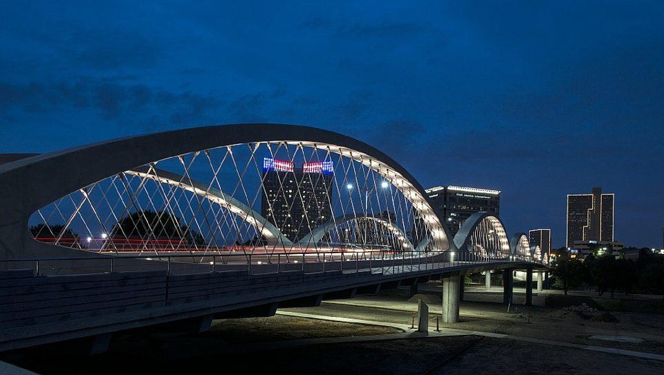 Fort Work Nighttime Skyline with Bridge